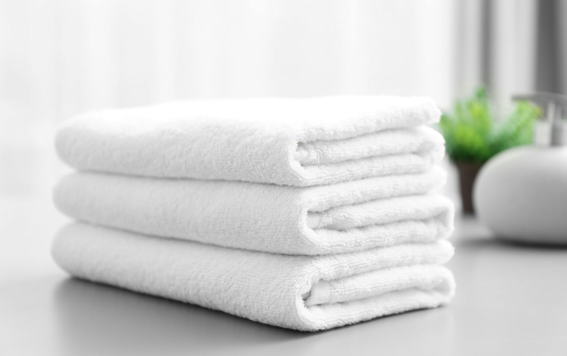 Stacked soft bath towels