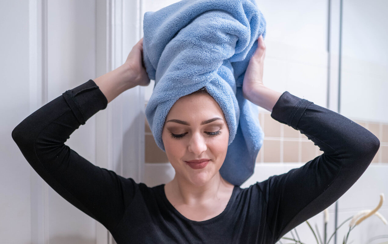 Hair wrapped in towel