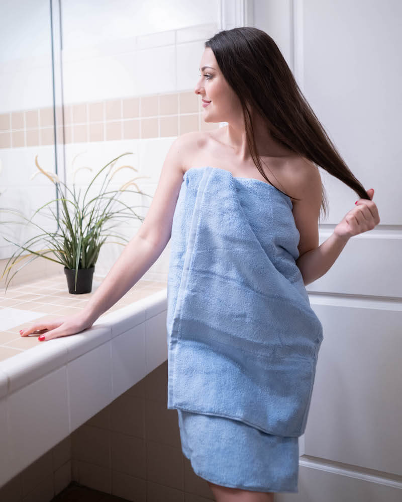 Model wearing a soft bath towel